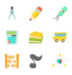 Schoolhouse icons set cartoon style vector