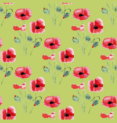 Seamless background with watercolor poppies vector