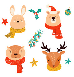 set cute christmas animals rabbit deer otter vector image