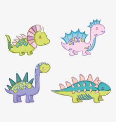 set cute styracosaurus with corythosaurus and vector image