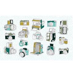 set of different photo cameras hand drawn vector image