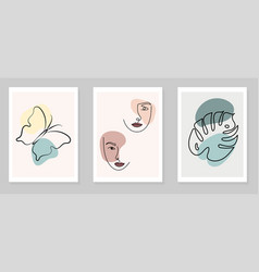 set wall art women faces leaves butterfly vector image