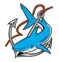 Shark anchor rope angry vector