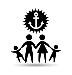 silhouette family vacation sailor anchor vector image