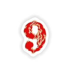 Sticker fiery font red number 9 on white vector