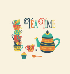 tea time hand drawn retro vector image