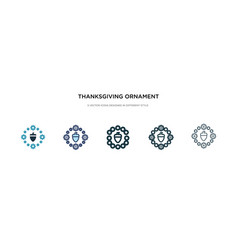 thanksgiving ornament icon in different style vector image