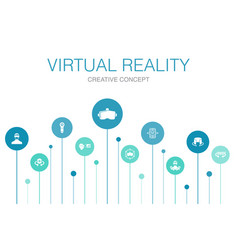 Virtual reality infographic 10 steps templatevr vector