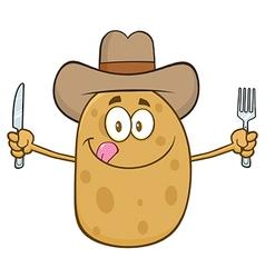 Western Potato Cartoon Holding Cutlery vector image