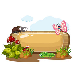 Wooden sign with bugs in garden vector