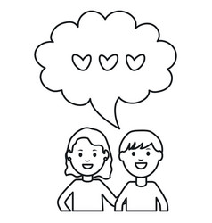 young couple with speech bubbles and hearts square vector image