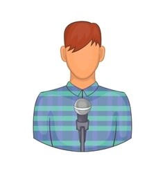 Young man with microphone icon cartoon style vector image