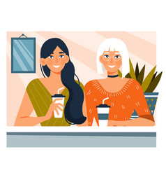 Young woman enjoying coffee with a friend vector