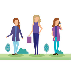 young women with shopping bag in the park vector image