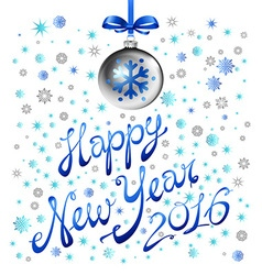 blue snowflake happy new year silver ball 2016 vector image vector image