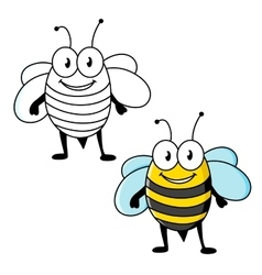 Cartoon striped bee insect with happy smile vector image