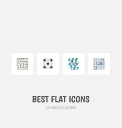 flat icon play set of backgammon multiplayer vector image vector image