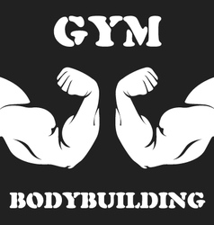 Gym and bodybuilding emblem with biceps vector image