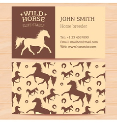 Horses Business Card vector image