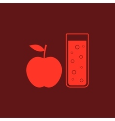 red apple and glass of juice vector image vector image