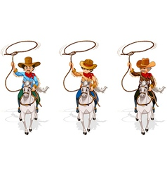 Two old and one young cowboys vector image vector image