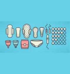 women menstrual hygiene objects set line art vector image