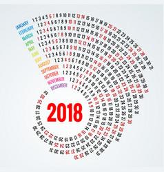 2018 calendar print template spiral calendar set vector image vector image