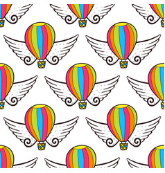 Balloon seamless pattern with wings bright vector