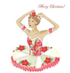 Christmas Ballerina wiht Flowers vector image