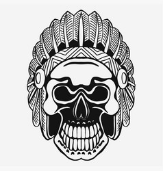 indian skull with tribal feather hat dead chief vector image vector image