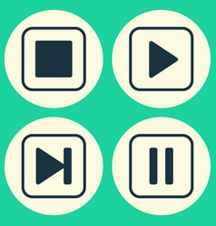 multimedia icons set collection of start song vector image