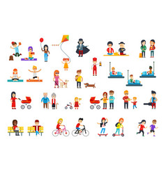 people rest in the park flat design vector image vector image
