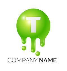 T letter splash green dots and bubbles letter vector