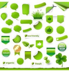 Big Green Labels Set vector image