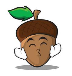 kissing smile eyes acorn cartoon character style vector image