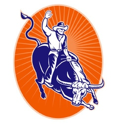 Rodeo cowboy texas longhorn bull vector
