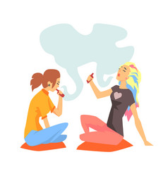 young hipster girls smoking vaporizers sitting on vector image