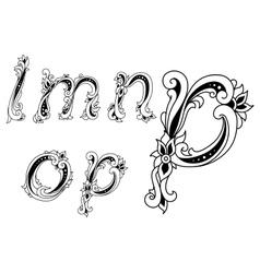 Decorative alphabet letters with floral elements vector image