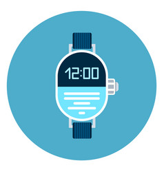 digital wrist watch icon on blue round background vector image