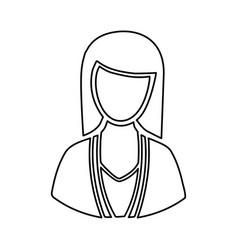 monochrome half body silhouette woman faceless vector image