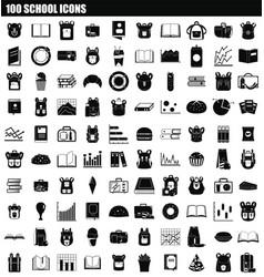 100 school icon set simple style vector image