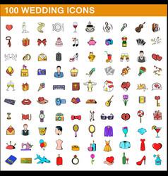 100 wedding icons set cartoon style vector image