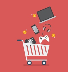 Add gadgets to cart vector image