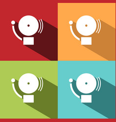 alarm icon on four colored backgrounds with shades vector image