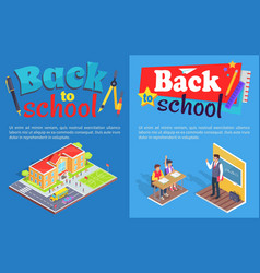 back to school posters with isometric vector image
