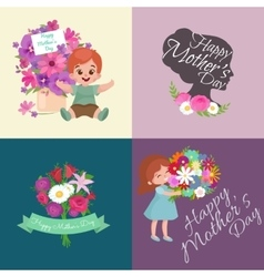 bagirl and boy with bouquet flowers happy vector image