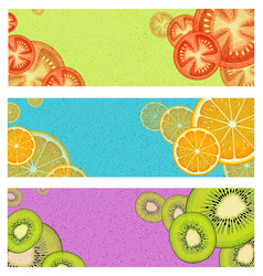 banners with tomatoes oranges and kiwi fruit vector image