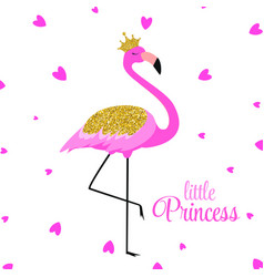 beautiful little princess pink flamingo in golden vector image