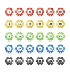 Big set of different nominal and colours casino vector image