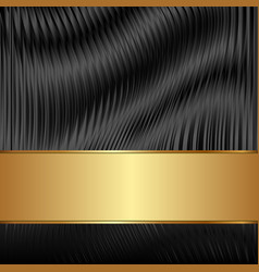 Black abstract background with golden tape vector